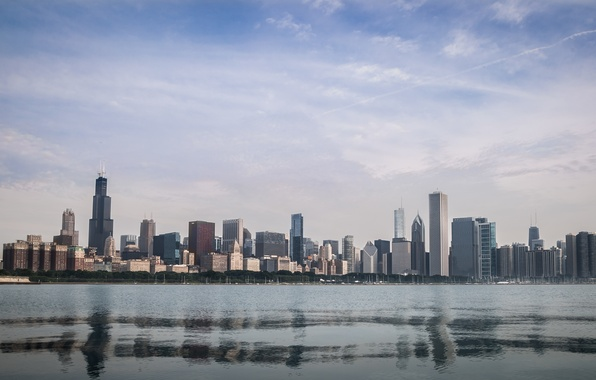 Photo Wallpaper USA Downtown Illinois Chicago City Sea The