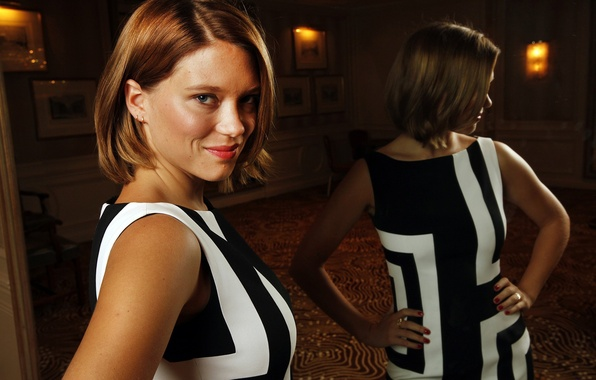 Picture pose, smile, reflection, makeup, dress, actress, mirror, hairstyle, photoshoot, Lea Seydoux, Lea Seydoux, LA Times, …