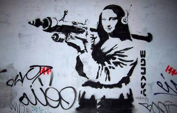 Picture graffiti, grenade launcher, Mona Lisa