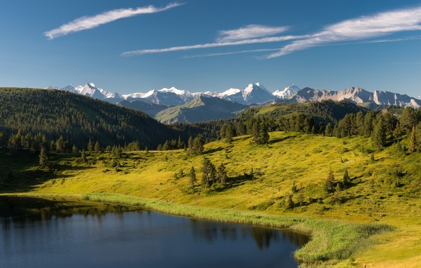 Picture forest, trees, mountains, lake, Switzerland, Alps, Switzerland, Alps, Sewenseeli lake, Entlebuch, Entlebuch