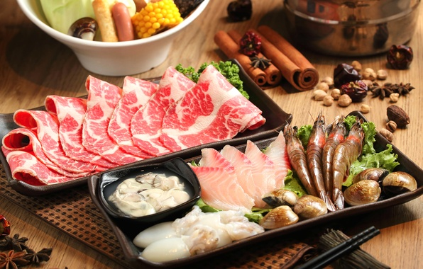 Picture fish, meat, cinnamon, shrimp, seafood, spices, Japanese cuisine, meals, squid, star anise, cuts, shellfish