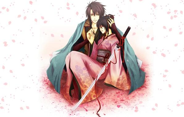 Picture girl, katana, petals, Sakura, form, guy, kimono, red ribbon, Sōji Okita, Hakuouki, Tidzuru Yukimura, Demons …