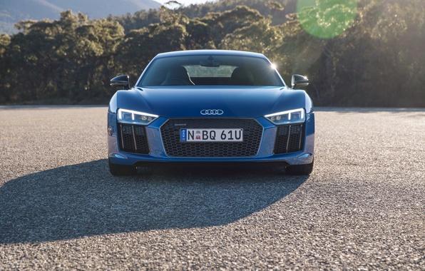 Picture machine, asphalt, Audi, lights, grille, the front, V10