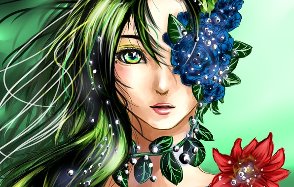Wallpaper eyes look leaves girl face anime art hair - Anime face wallpaper ...
