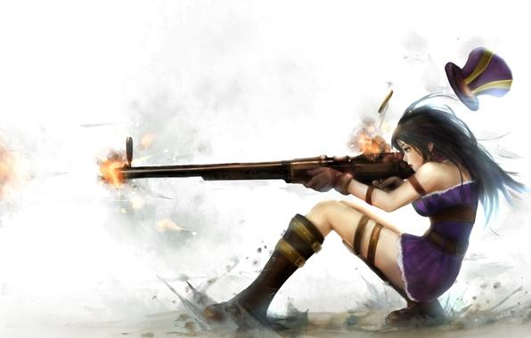 Picture girl, weapons, dust, shot, art, the gun, league of legends, caitlyn, zhang xiao bo