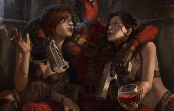 Picture look, weapons, girls, wine, mask, art, cigarette, costume, fun, Deadpool