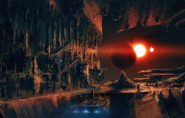 Picture the sun, ship, docks