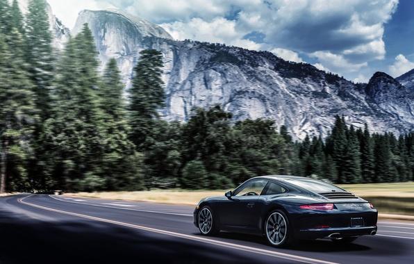 Picture mountains, 911, Porsche, black, Carrera, rear, 991