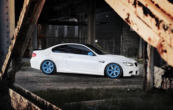 Picture white, bridge, the city, BMW, BMW, white, E92, IND, metal supports