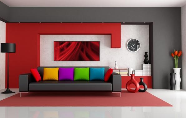 Picture flowers, room, sofa, pillow, lamp, modern, vases, folder