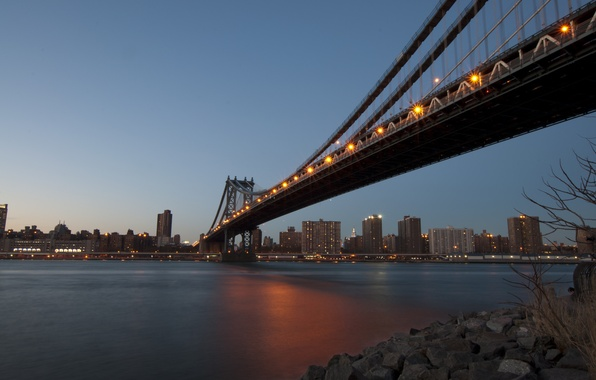 Picture bridge, the city, lights, river, home, New York, the evening, channel