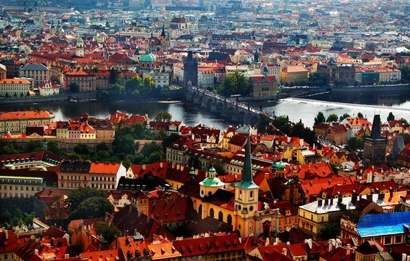 Picture river, tower, home, Prague, Czech Republic, panorama, Charles bridge