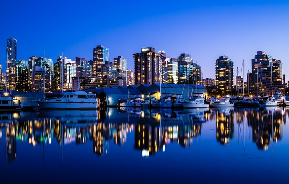 Picture night, the city, the ocean, building, Marina, yachts, skyscrapers, the evening, Canada, Vancouver, Canada, Vancouver