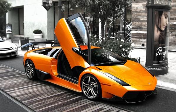 Picture mediocrity, street, up, Lamborghini, door, LP2310оранж