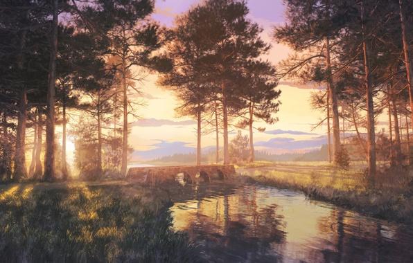 Picture forest, grass, water, trees, landscape, sunset, bridge, river, art
