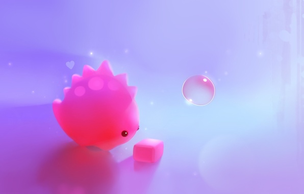 Picture pink, dinosaur, art, cube, cube, bubble, heart, apofiss
