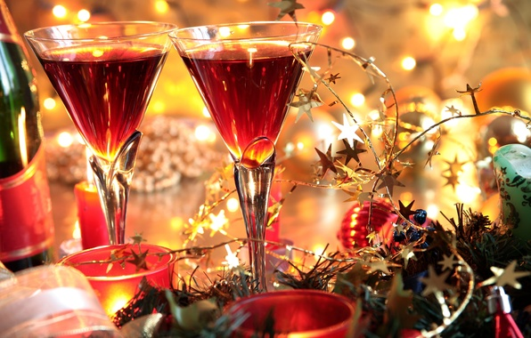 Picture decoration, bright, holiday, new year, glasses, holidays, celebration, New year