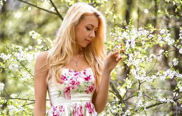 Picture girl, face, sweetheart, portrait, spring, dress, the beauty, flowering, landing, young, flowers, beauty, russian, sunlight, …