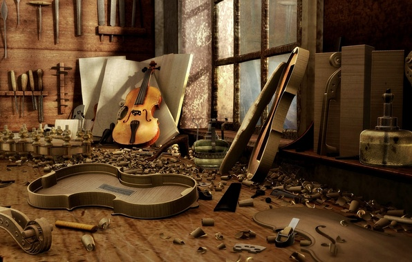 Picture wood, musical instruments, Workshop