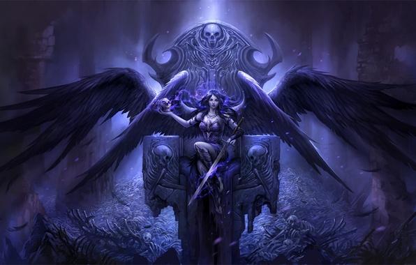 Picture girl, lights, death, skull, wings, angel, sword, feathers, bones, skeleton, sake, girl, sword, ruins, the …