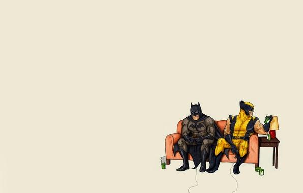 Picture sofa, lamp, minimalism, Batman, joystick, banks, drives, Batman, play, wolverine, comic, Wolverine