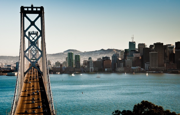 Picture bridge, CA, the bay bridge, San Francisco