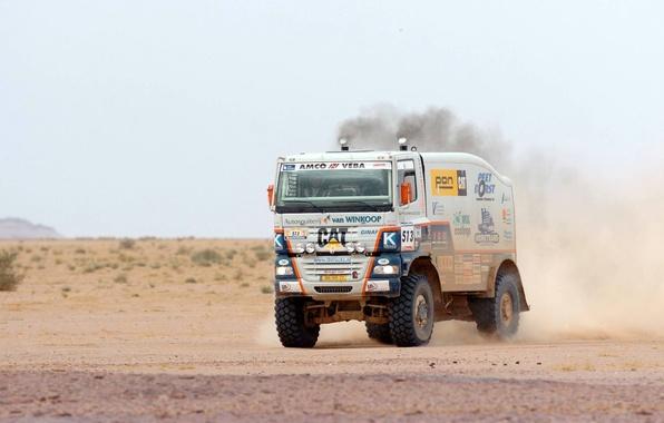 Picture Dust, White, Sport, Desert, Truck, Race, Heat, Rally, Dakar, Championship, Ginaf, X 222, X222