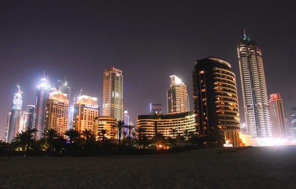 Picture beach, night, city, palm trees, home, Dubai, Dubai, night, skyscrapers, UAE, sand.