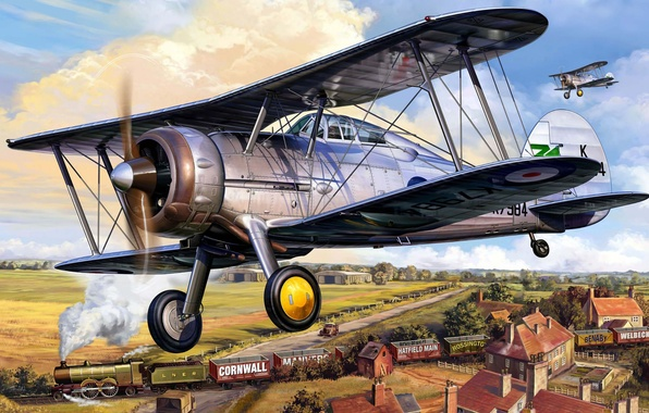 Picture the plane, fighter, British, biplane, air, Royal, Gloster Gladiator MK. 1, forces., military, armed, Gloster …