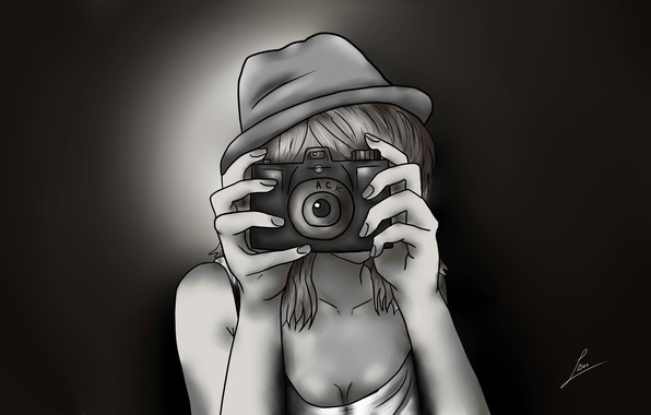 Picture girl, figure, hat, anime, hands, the camera, comics