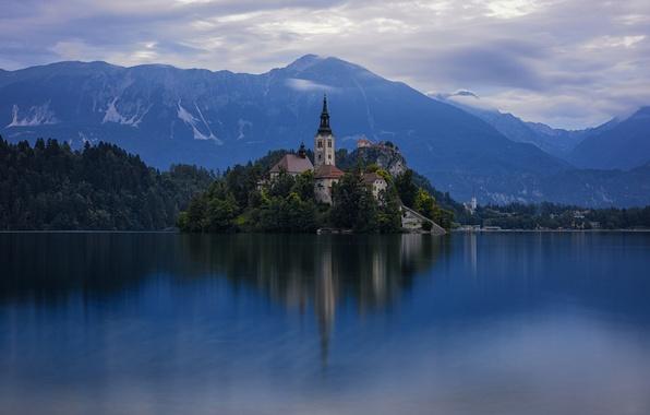 Picture lake, island, Church, Slovenia, Slovenia, Bled