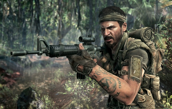 Picture war, tattoo, jungle, soldiers, call of duty, rifle, equipment, black ops