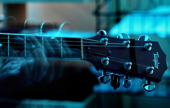 Picture blue, music, Guitar