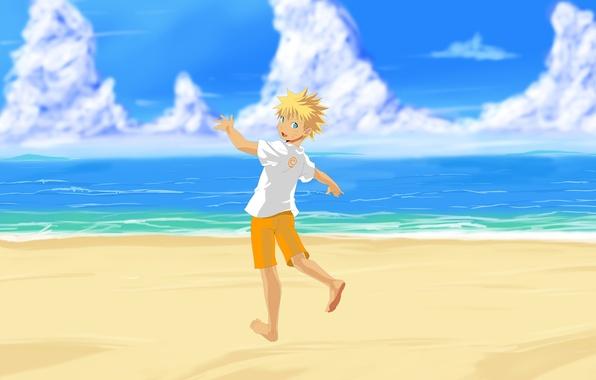 Picture sea, beach, art, Anime, Naruto, Naruto, Uzumaki Naruto, Uzumaki Naruto