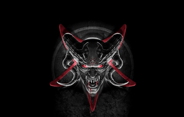 Picture blood, star, the demon, fangs, horns, the devil, Satan, pentagrama