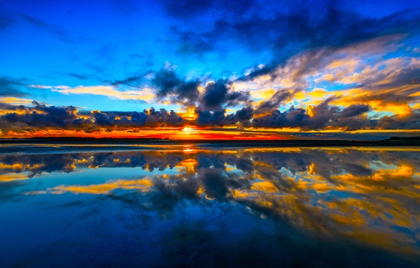 Picture sea, the sky, clouds, sunset, reflection, coast