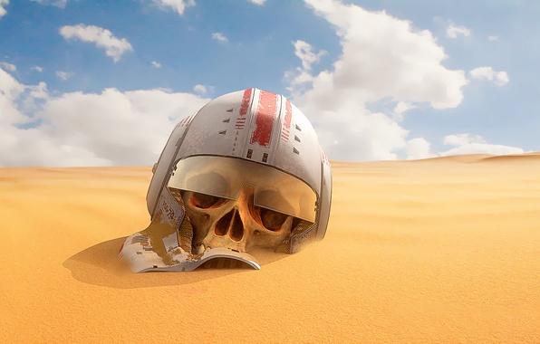 Picture sand, desert, skull, helmet, star wars