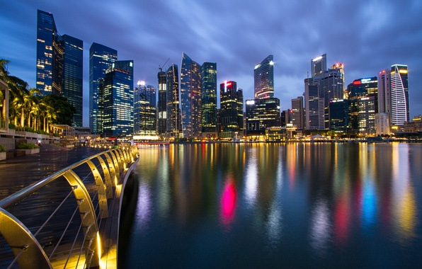 Picture the sky, night, bridge, lights, Strait, skyscrapers, backlight, Singapore, blue, promenade, megapolis, Malaysia, the city-state