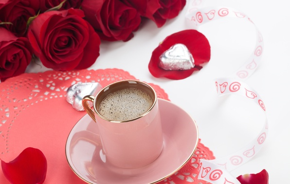 Wallpaper flowers, love, valentine\'s day, red rose, coffee, roses ...