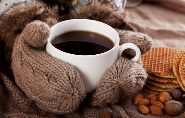 Picture comfort, coffee, Cup, drink, nuts, waffles, mittens