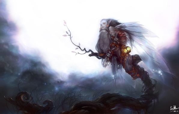 Picture girl, night, tree, the moon, wings, art, lantern, undead, Mingzhu Yang