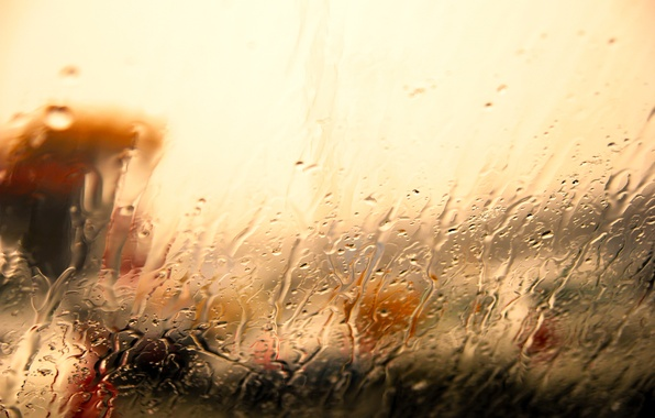Picture glass, water, drops, light, rain, the shower, threads