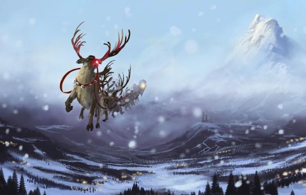 Picture winter, snow, flight, mountains, castle, new year, art, team, deer