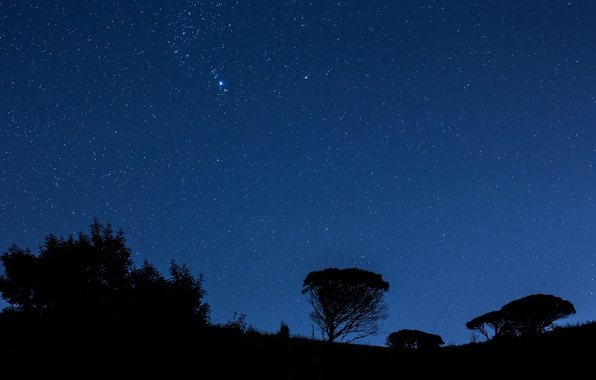 Picture the sky, stars, night, mountain, silhouette, Italy