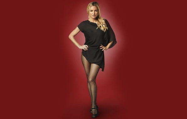 Picture look, girl, pose, stockings, dress, actress, blonde, girl, sexy, dress, red background, stockings, blonde, Kate …