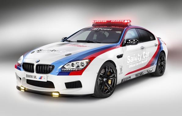 Picture BMW, Light, Glow, Gran Coupe, White, Tuning, Sedan, Safety Car, Wheels, Moto GP
