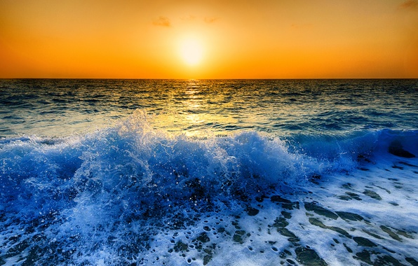 Picture sea, the sky, the sun, sunset, squirt, wave
