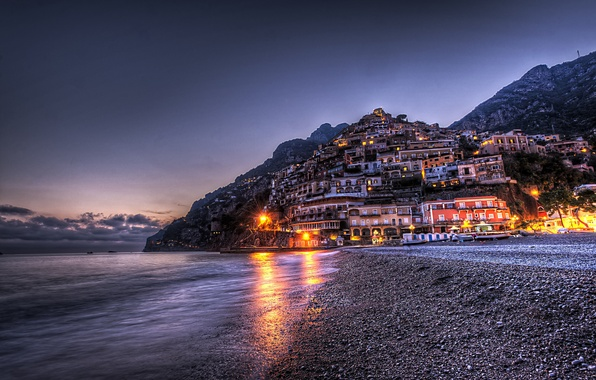 Picture mountains, the city, HDR, home, the evening, Italy, Italy, Campania, Positano