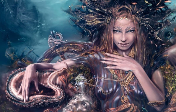 Picture sea, fantasy, ship, the bottom, mistress, octopus