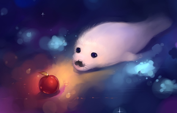 Picture white, Apple, cub, art, Baby seal, marine seal, hangmoon